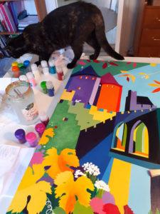 Jane Heyes Art Peintre Carcassonne Artist Mavis inspecting Glitter
