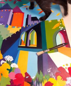 Jane Heyes Art Peintre Carcassonne Artist Mavis ontop of a painting