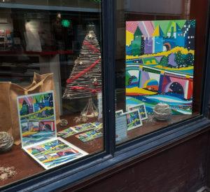 Jane Heyes Art Peintre Carcassonne Artist Tourist office window 1