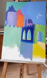 Jane Heyes Art Peintre Carcassonne Artist Work in progress Autumn