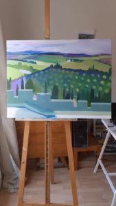 Jane Heyes Art Peintre Carcassonne Artist Work in progress Ramparts