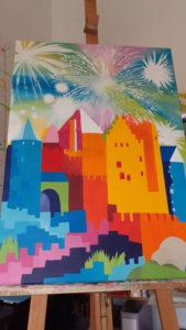 Jane Heyes Art Peintre Carcassonne Artist Work in progress Summer
