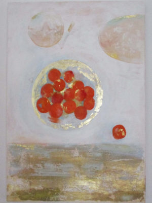 Jane Heyes Art Apricots 50x70 acrylic + gold
