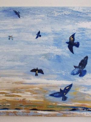 Jane Heyes Art Liberty - Birds on blue with gold size 1m sq