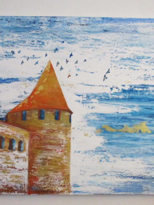 Jane Heyes Art Carcassonne Turrets with birds 100x100 higher res
